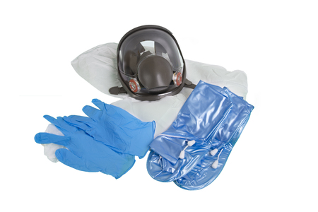 Full face gas mask, protective clothing, gloves and shoes for infection or air pollution protection on white background.