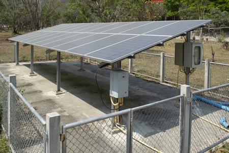 Small solar plant in Asian rural area.