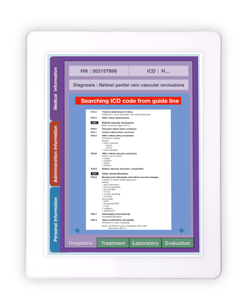 Medical record technology using digital tablet for ICD code searching on white background. 스톡 콘텐츠