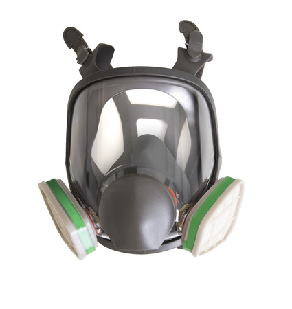 Gas mask for air pollution protection on white background. 스톡 콘텐츠 - 124959529