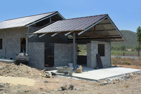 House under construction in somewhere of Asia rural area. 스톡 콘텐츠