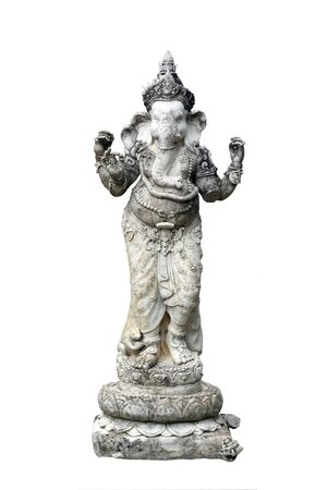 Ancient statue of standing ganesha that is a deity on white background.