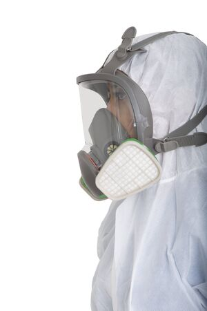 Female officer wearing gas mask and pollution protection suit on white background.