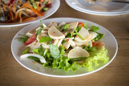 Pork sausage salad, thai tradition food delicious and spicy.