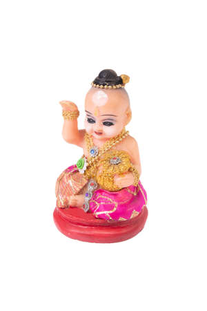 Thai amulet, horror boy doll or Kuman Thong show as beckoning lady on white background.