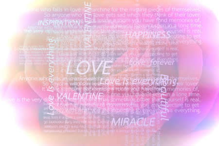Many words indicate meaning of love for Valentine's Day on big rose in background. Stock Photo