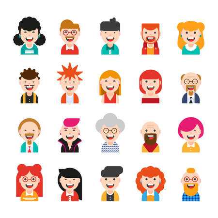 20 avatars of characters. men and women of different ages and social status. illustration in modern flat style. icons for social networks, websites.