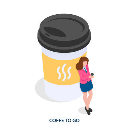 Coffee to go concept. Girl next to a huge cup of coffee. Isometric vector illustration on white background