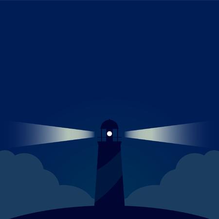 Night lighthouse design on PLAIN background. Ilustrace