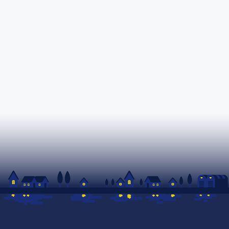 City landscape night town.