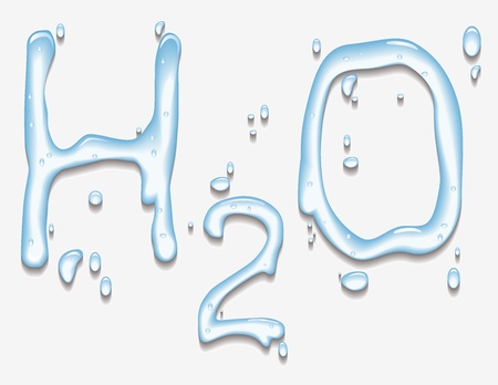 Vector illustration of water with H2O shape