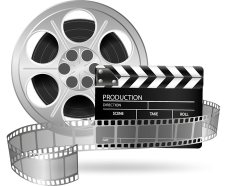 Illustration of cinema clap and film reel isolated on white  Vector