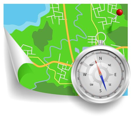 Compass and map vector illustration