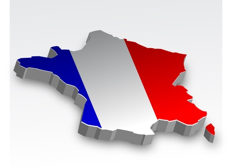 Three dimensional map of France in flag colors