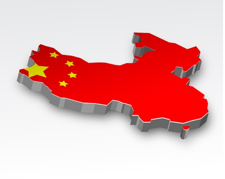 china map: Three dimensional map of China in Chinese flag colors  Illustration