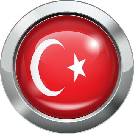 Turkey flag metal button  Stock Vector - 19970031