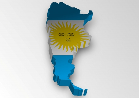 argentina map: Three dimensional map of Argentina in flag colors