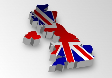Three dimensional map of British in flag colors