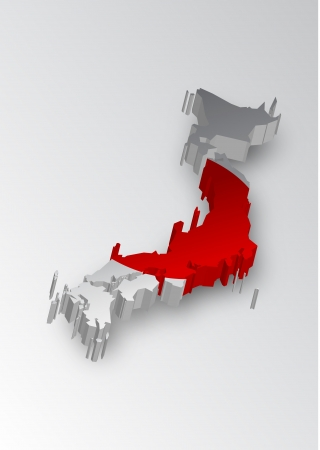 japanese flag: Three dimensional map of Japan in flag colors Illustration