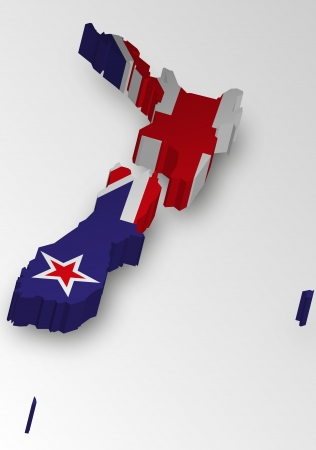 Three dimensional map of New Zealand in flag colors