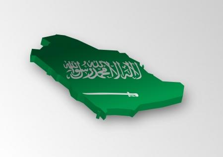 Three dimensional map of Saudi Arabia in flag colors  Illustration