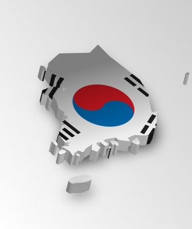 Three dimensional map of Korean in flag colors Vector