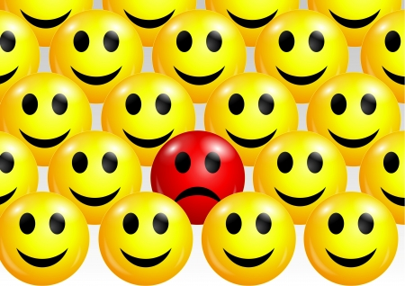 Sad smiley face among happy ones  Vector