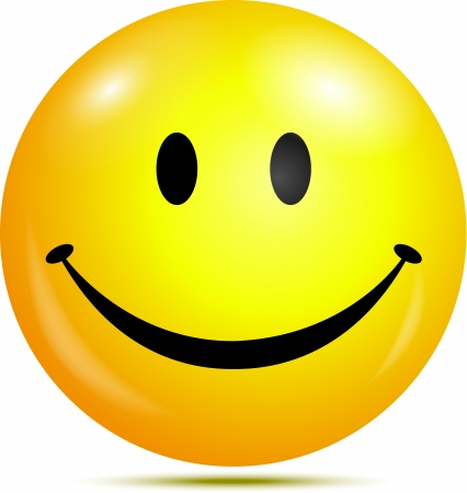 reir: Cara sonriente feliz Vectores