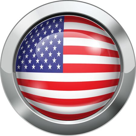 America flag metal button