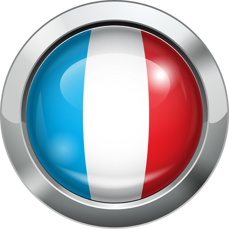 France flag metal button  Vector