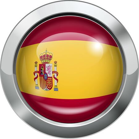 Spain flag metal button  Vector
