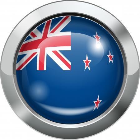 bandera de nueva zelanda: Nuevo botón de la bandera del metal Zelanda