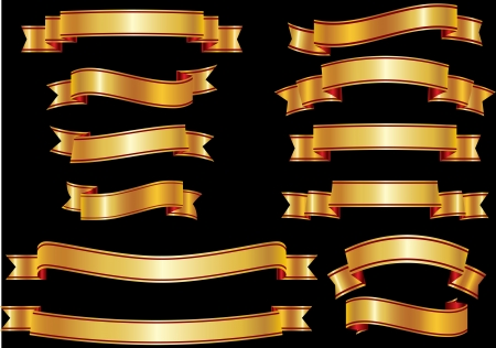 Set of golden ribbons or banners for your text