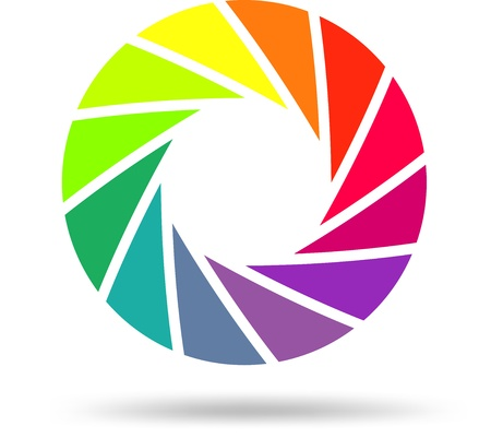 photography logo: Colorful shutter aperture