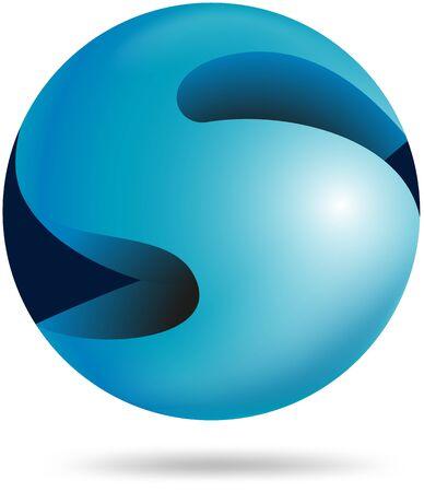 Abstract 3d sphere alphabet S