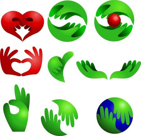 manos logo: Logo conjunto de recopilación