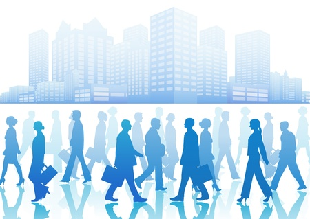 person walking: Business people in silhouette walking in different directions