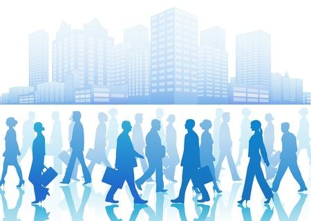 Mensen uit het bedrijfsleven in silhouet lopen in verschillende richtingen