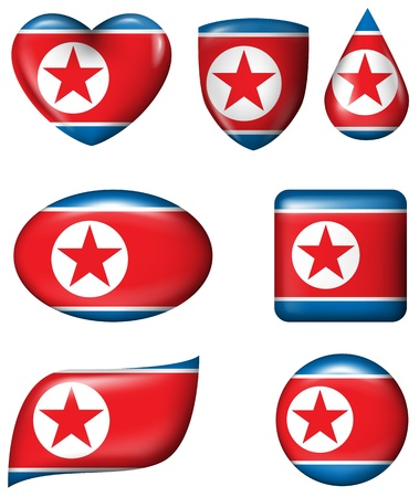 North Korean Flag in various shape glossy button