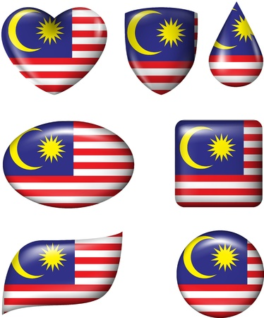 Malaysian Flag in various shape glossy button