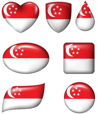 Singapore Flag in various shape glossy button  Editorial