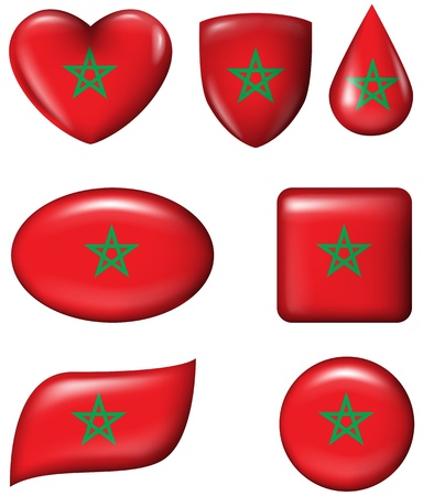 Morocco flag in various shape glossy button
