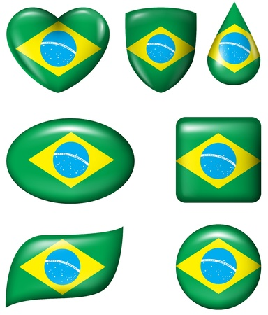 Brazilian Flag in various shape glossy button