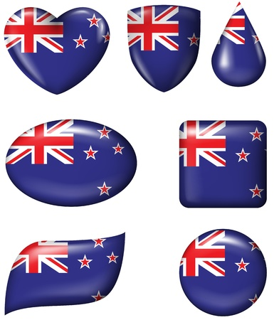New Zealand Flag in various shape glossy button  Illustration