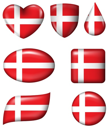 Denmark Flag in various shape glossy button  Illustration