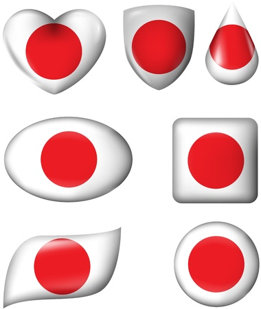 Japanese Flag in various shape glossy button Vector