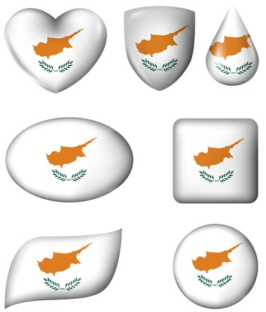 Cyprus Flag in various shape glossy button