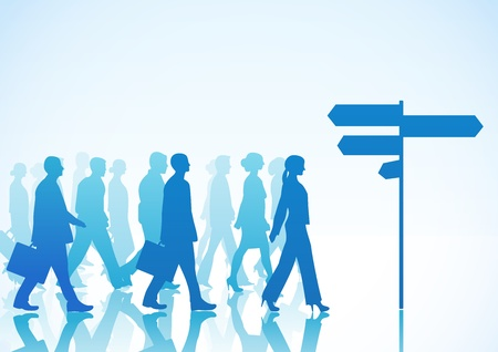 People are walking to direction sign  Illustration