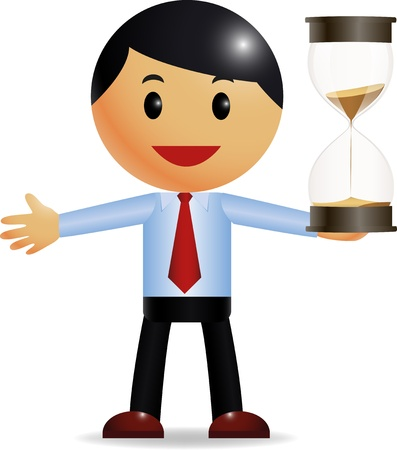 punctual: Businessman holding hourglass