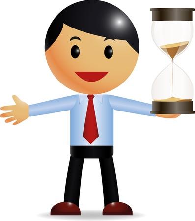punctual: Hombre de negocios la celebración de reloj de arena Vectores